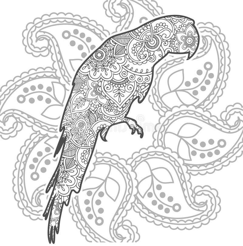 zentangle страницы расцветки отпуска стресса Пейсли doodle попугая нарисованное рукой животное взрослое иллюстрация вектора
