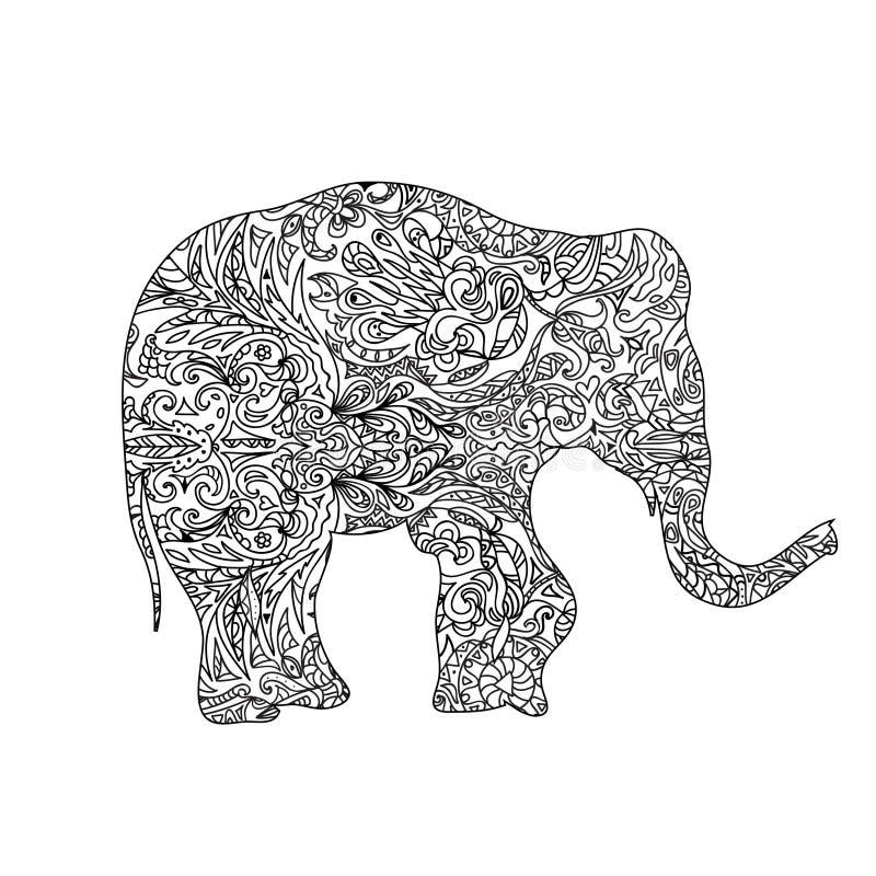 Zentangle слона иллюстрация штока