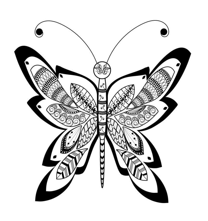 Zentangle蝴蝶 皇族释放例证