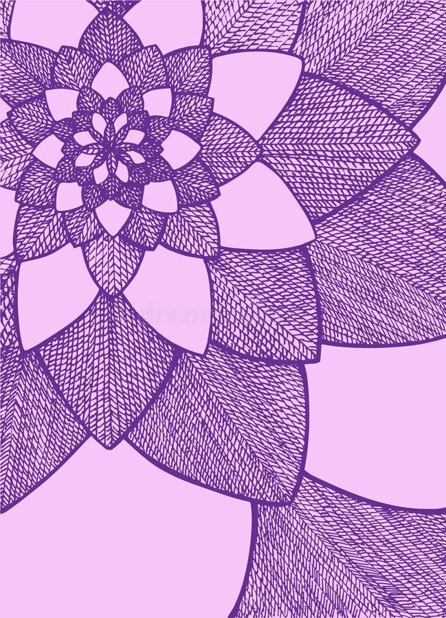 Zentangle abstracte bloem Het oog van de ereprijs birdâs Hand getrokken illustratie Ornament voor groetkaart Purpere en roze kleu stock illustratie