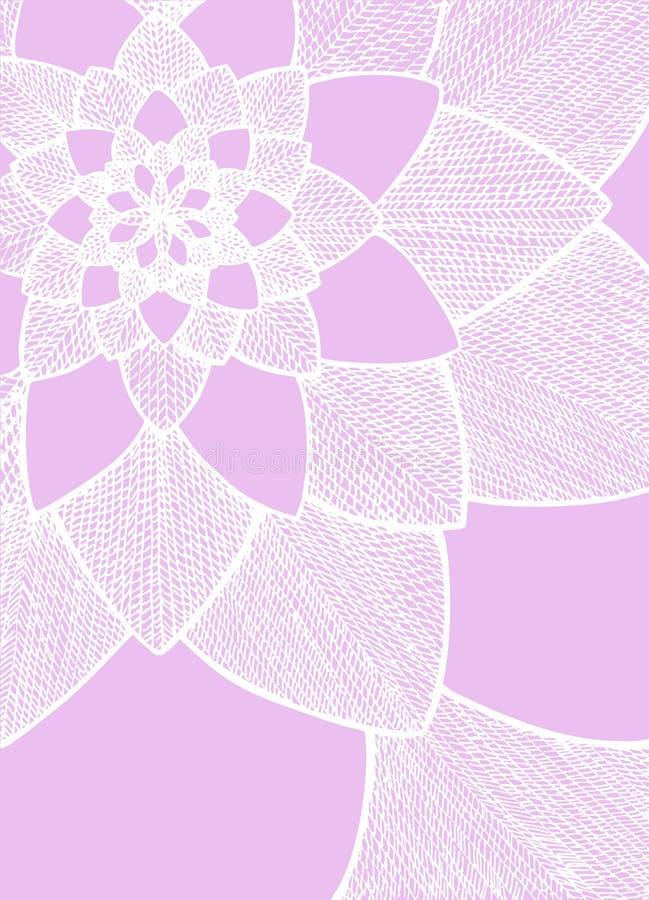 Zentangle abstracte bloem Het oog van de ereprijs birdâs Hand getrokken illustratie Ornament voor groetkaart Witte lijnen op purp vector illustratie