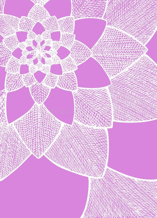 Zentangle abstracte bloem Het oog van de ereprijs birdâs Hand getrokken illustratie Ornament voor groetkaart Witte lijnen op purp royalty-vrije illustratie