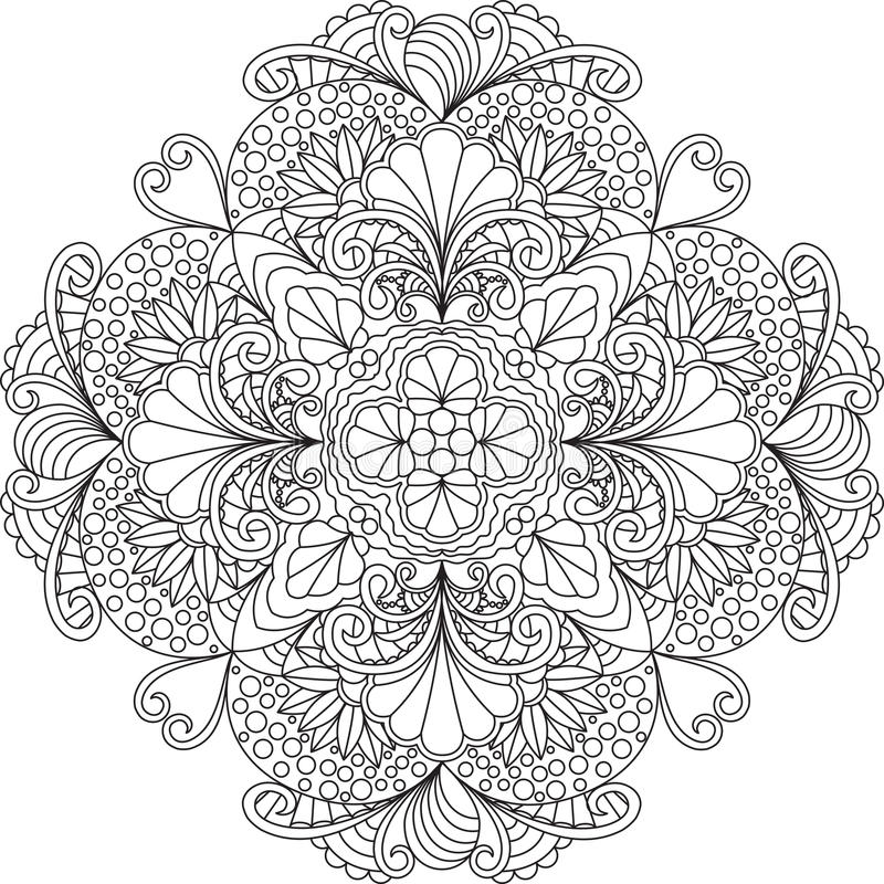 Zentangle Adult Coloring Page Mandala With Flowers Stock