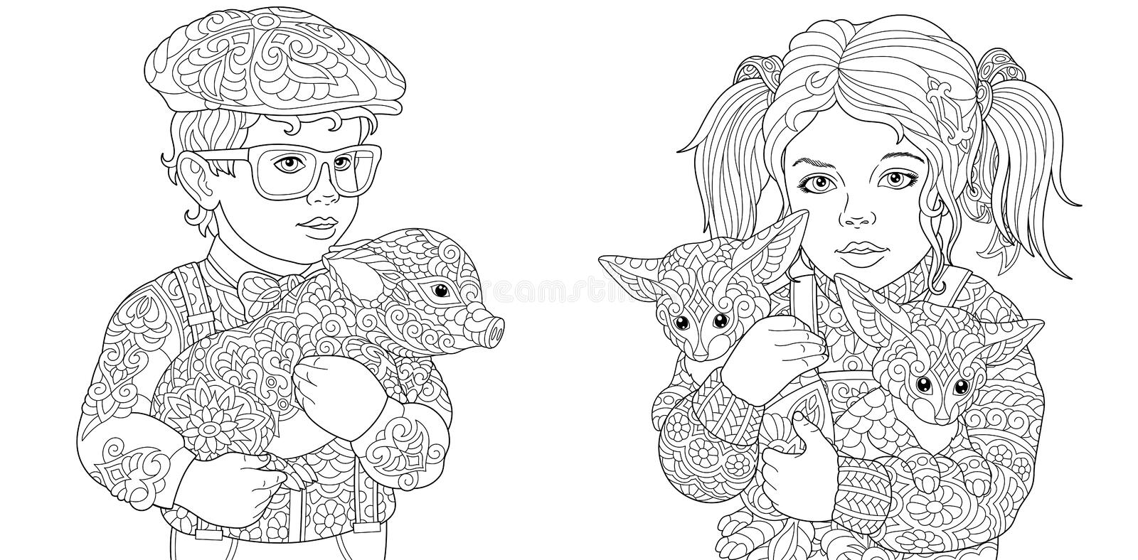 Zentangle art. Coloring Pages. Coloring Book for adults. Colouring pictures with children embracing pig and foxes. Vector royalty free stock image