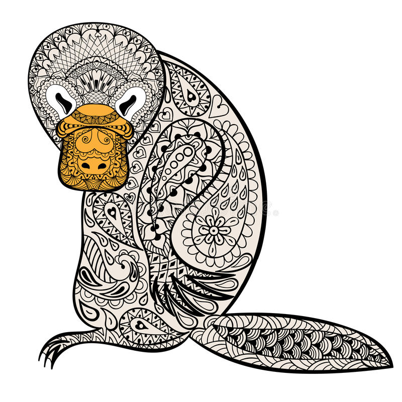 Download Zentangle Australian Platypus Totem For Adult Anti Stress Stock Vector