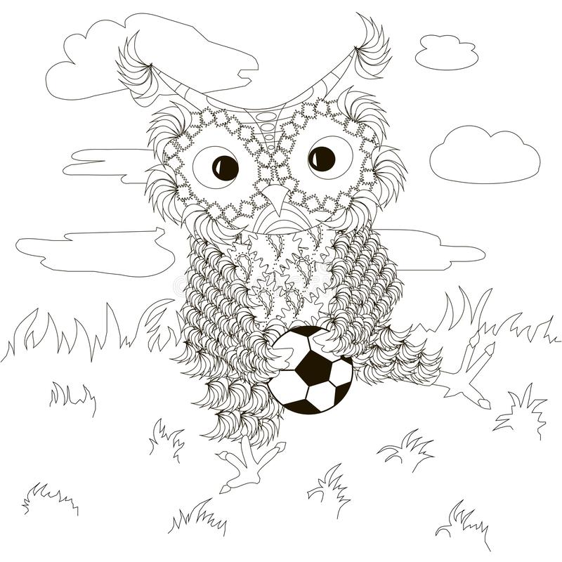 Zentangle, búhos blancos y negros estilizados que se sientan con fútbol en el césped, nubes, dibujo de la mano libre illustration