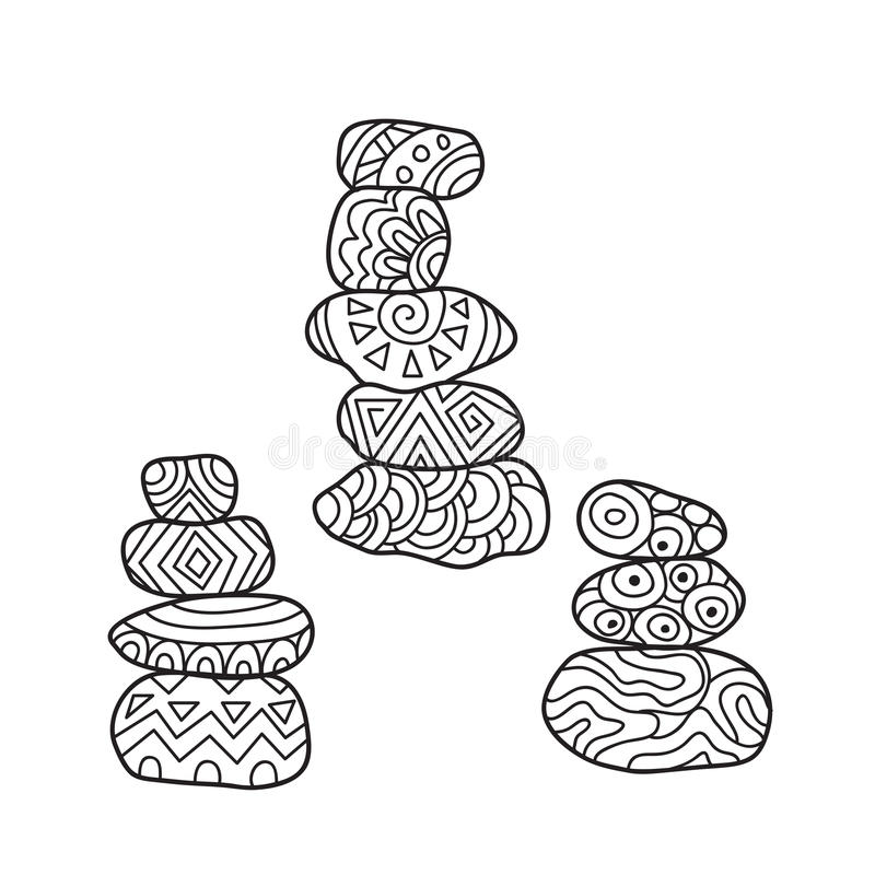 Zentangle the Baikal cairns for adult anti stress Coloring. Page for art therapy, illustration in doodle style. Set of 3 vector monochrome sketches with royalty free illustration