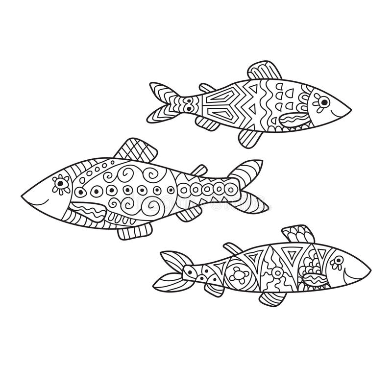 Zentangle the Baikal Omul for adult anti stress Coloring Page. For art therapy, illustration in doodle style. Set of 3 vector monochrome sketches with geometric royalty free illustration