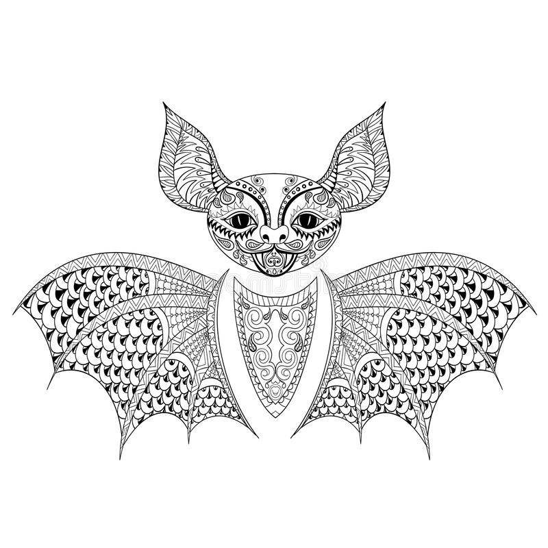 Zentangle Bat Totem For Adult Anti Stress Coloring Page