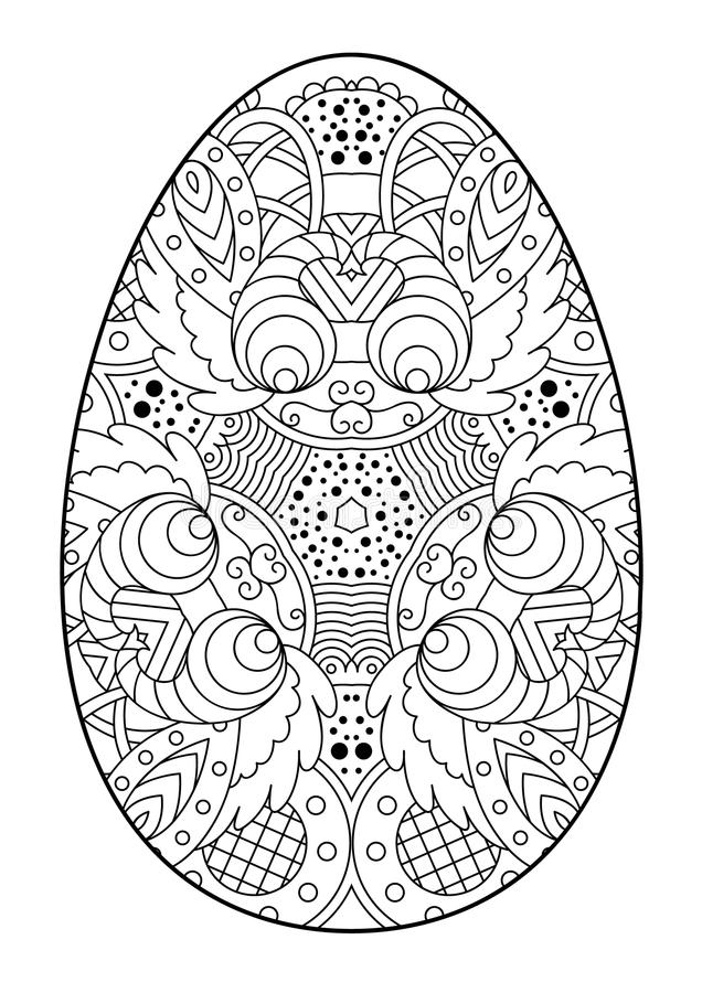 Download Zentangle Black And White Decorative Easter Egg Stock Vector