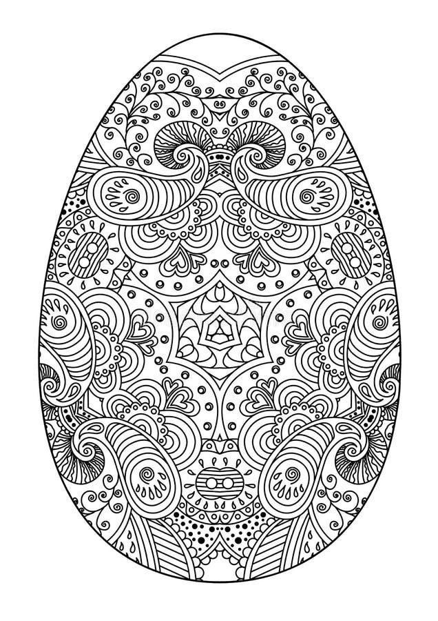 zentangle black and white decorative easter egg stock