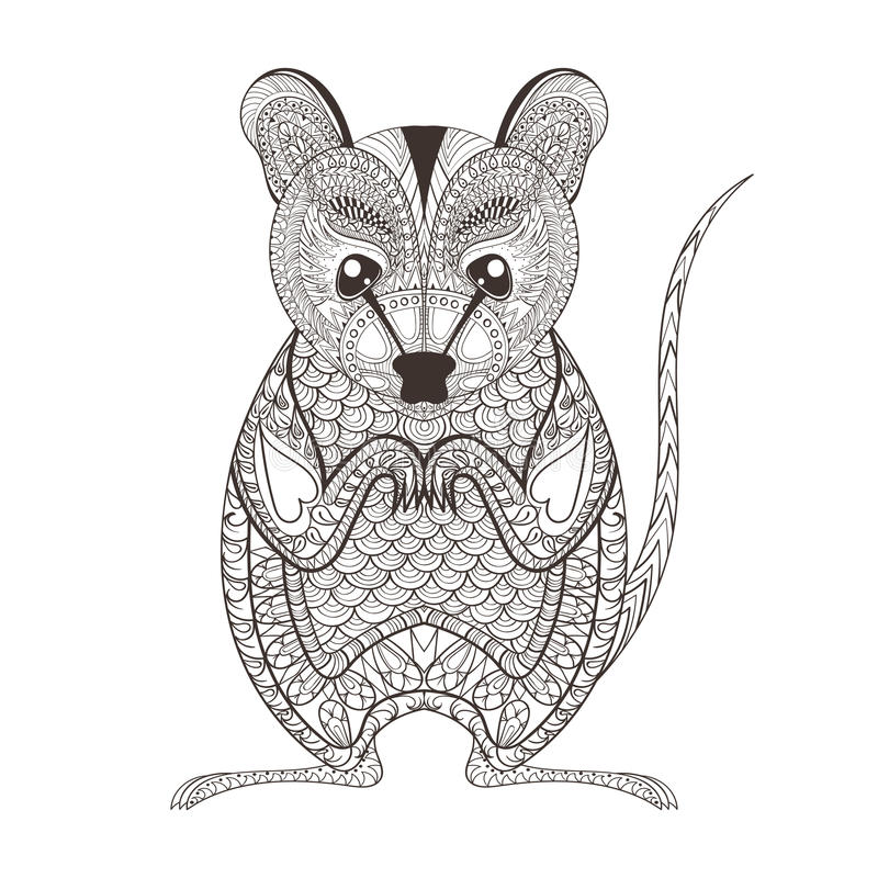 Zentangle brown Possum totem for adult anti stress Coloring. Page for art therapy, illustration in doodle style. Vector monochrome sketch with high details vector illustration