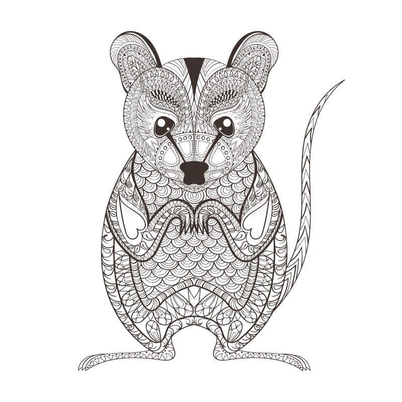 Zentangle brunissent le totem d'opossum pour l'anti coloration adulte d'effort illustration de vecteur