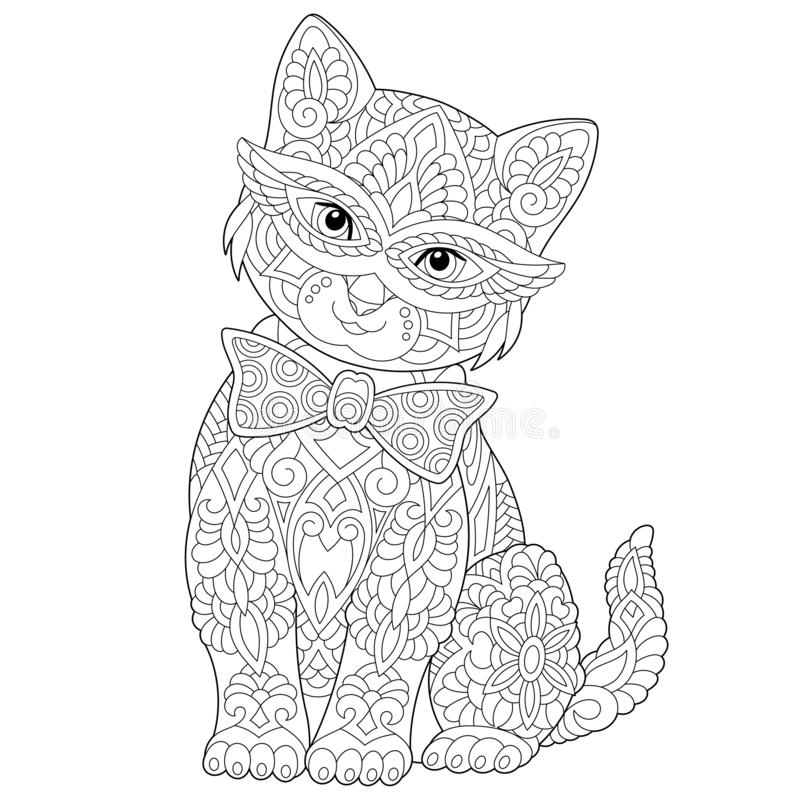 Zentangle cat coloring page royalty free stock photos