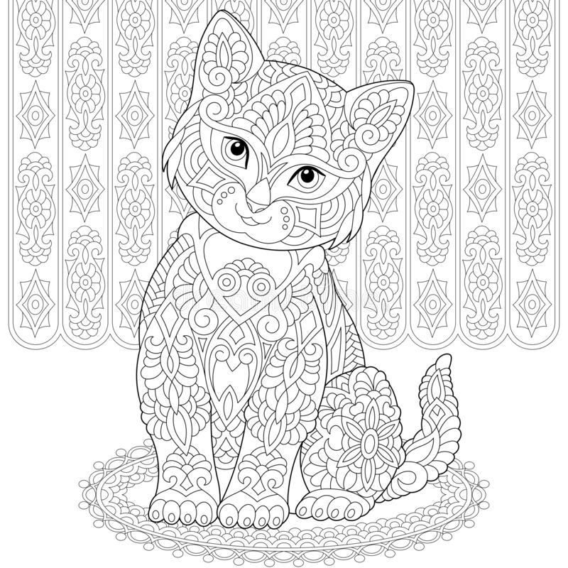 Zentangle cat coloring page stock photography