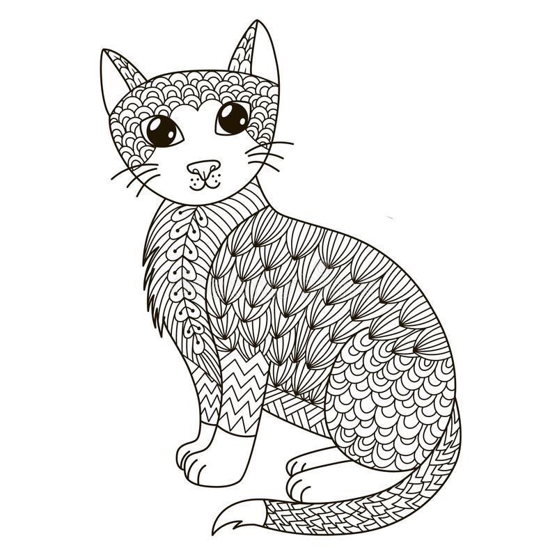 Zentangle cat for coloring page, shirt design, logo, tattoo and decoration vector illustration