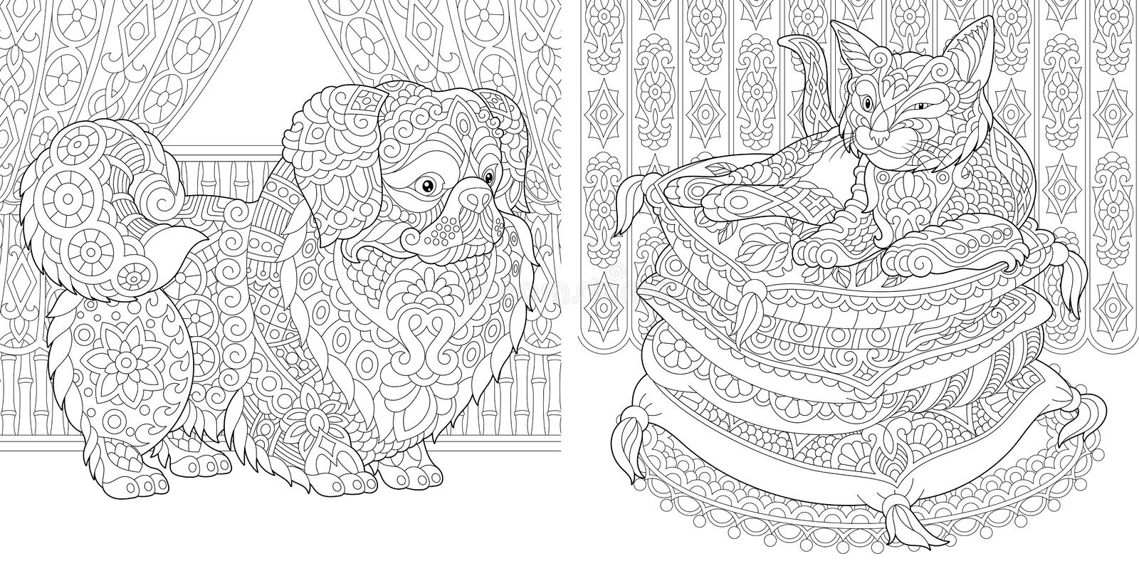 zentangle cat pekingese dog coloring pages pillows japanese chin adult book idea antistress freehand sketch drawing