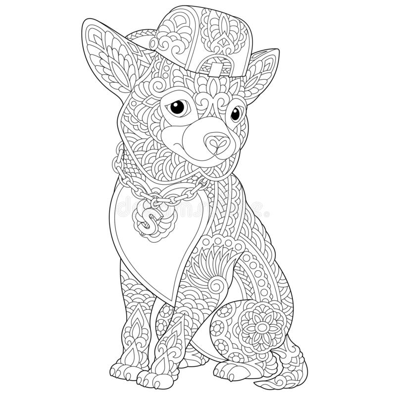 Zentangle chihuahua dog coloring page. Coloring page. Coloring book. Anti stress colouring picture with chihuahua dog. Freehand sketch drawing with doodle and vector illustration