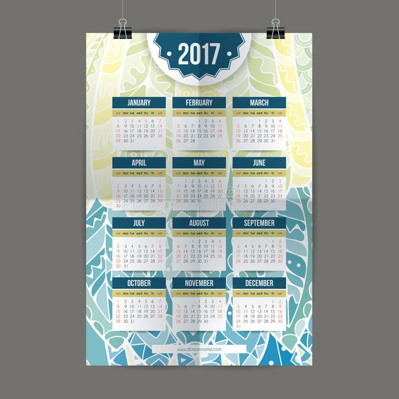 Zentangle colorful calendar 2017 hand painted in the style of floral patterns and doodle. royalty free illustration