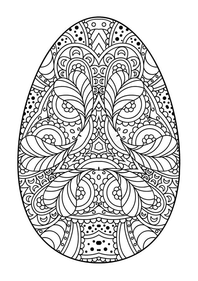 Zentangle czarny i biały dekoracyjny Wielkanocny jajko ilustracja wektor