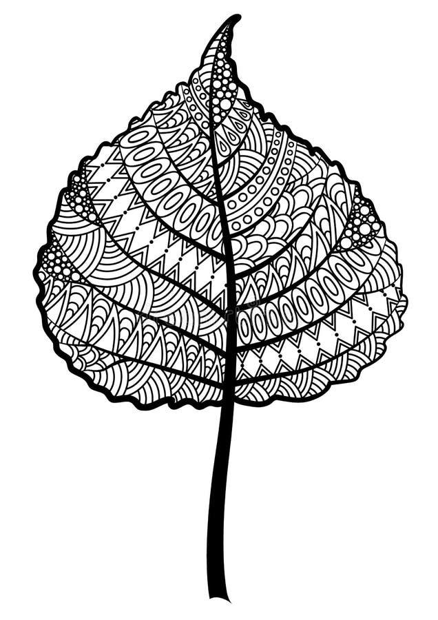 Zentangle czarny i biały drzewny liść na białym tle ilustracji
