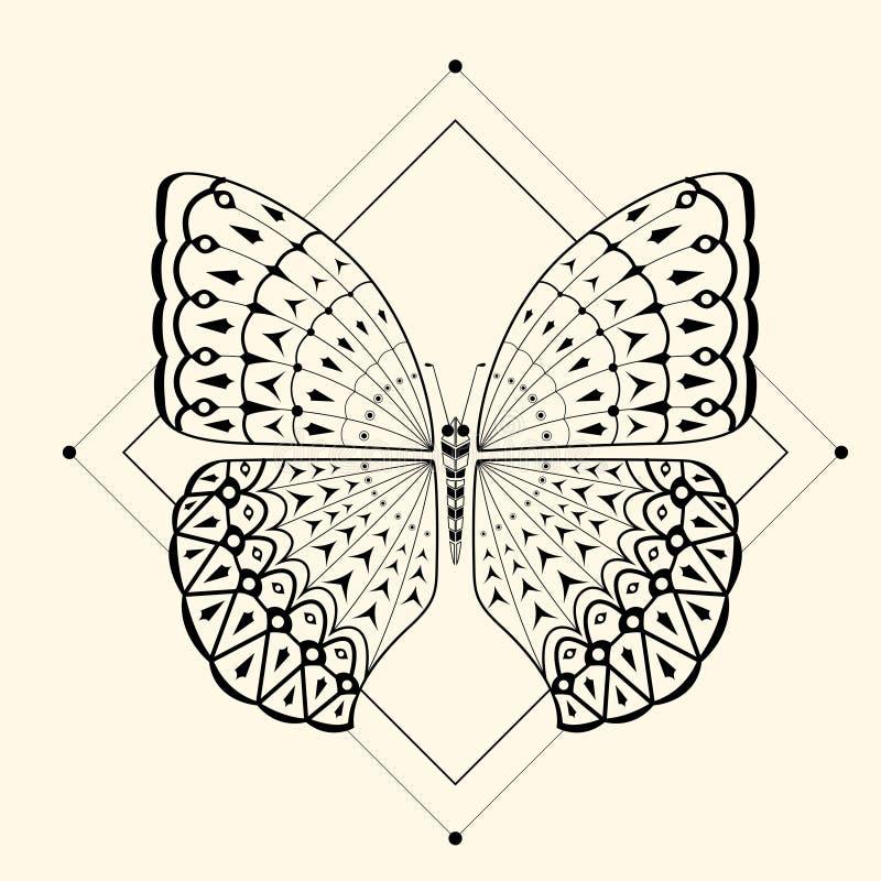 Zentangle 2 da borboleta imagem de stock royalty free