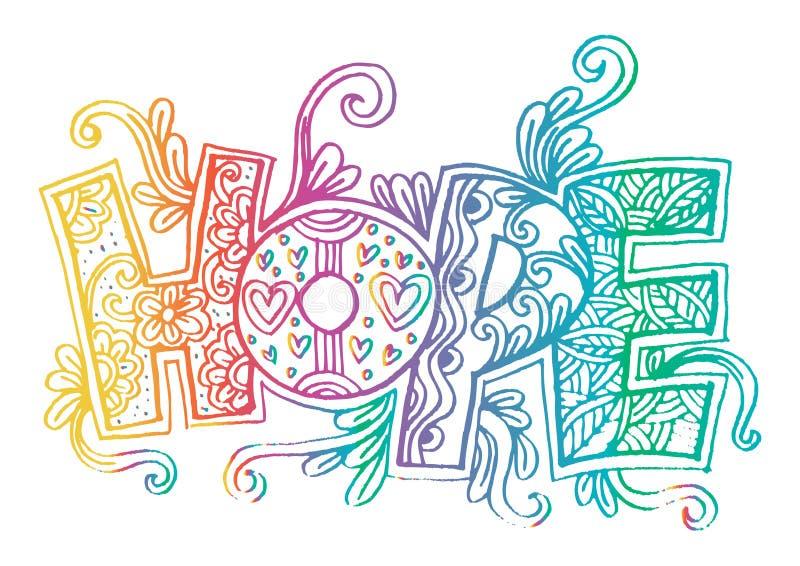 Zentangle da esperança da palavra estilizado ilustração royalty free