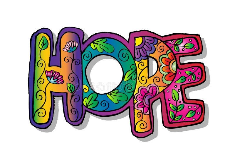 Zentangle da esperança da palavra estilizado ilustração stock