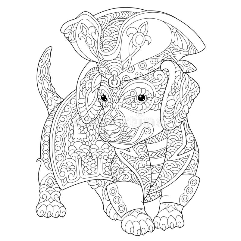 Zentangle dachshund dog coloring page royalty free stock image