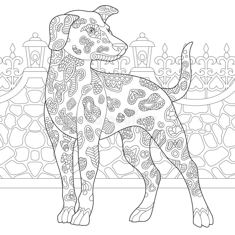 Zentangle dalmatian psa kolorystyki strona ilustracja wektor