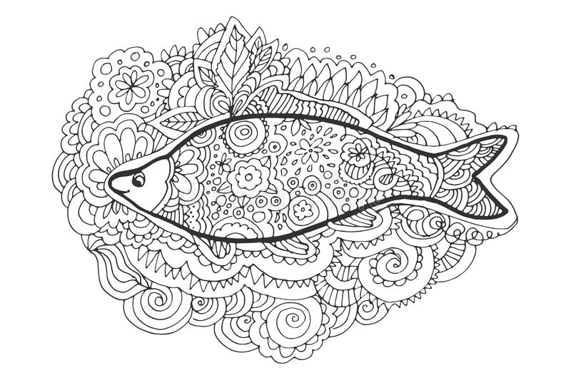 Zentangle de dessin de main Queue décorative et abstraite de poissons Livre de coloration illustration libre de droits