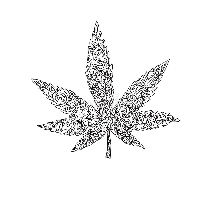 Zentangle de feuille de cannabis illustration stock illustration du noir dessin 55057716 - Feuille cannabis dessin ...