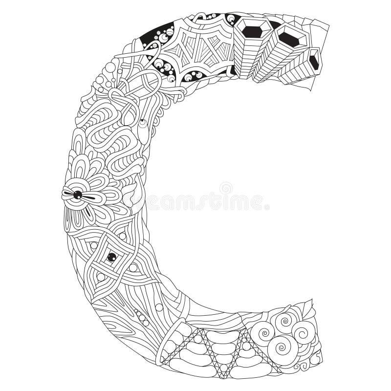 Letra P Para Colorear Objeto Decorativo Del Zentangle Del