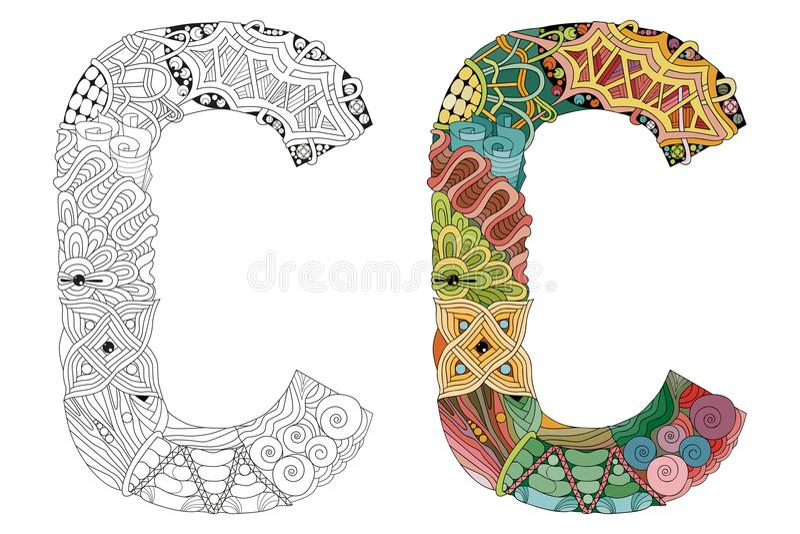 Zentangle De La Letra C Para Colorear Objeto Decorativo Del Vector ...