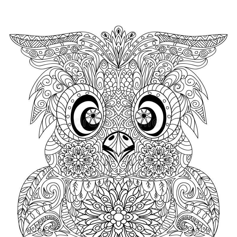 zentangle de mandala d'owl portrait illustration stock