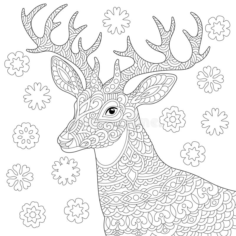 Zentangle deer reindeer coloring page. Coloring page. Coloring book. Anti stress colouring picture with deer. Christmas reindeer and vintage snowflakes. Freehand stock illustration