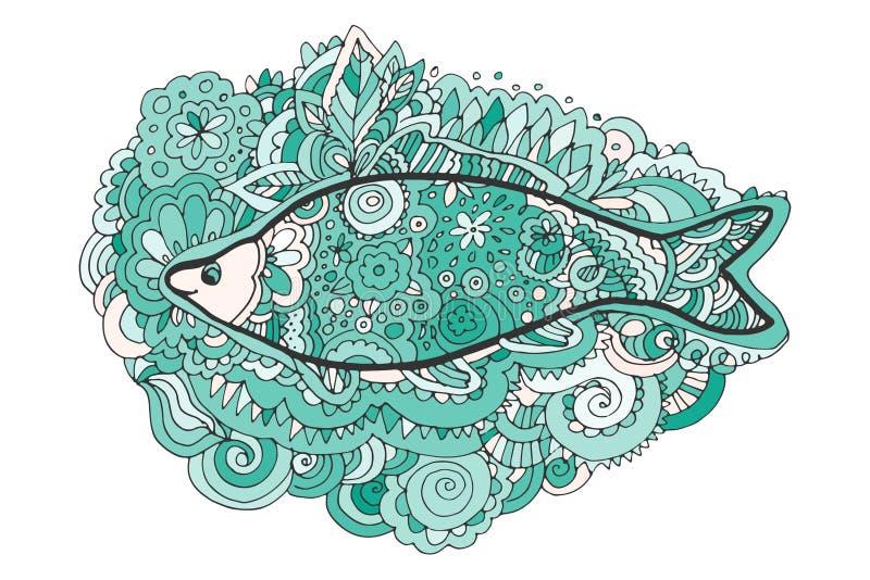 Zentangle del dibujo de la mano Cola decorativa, abstracta de los pescados Libro de colorante stock de ilustración