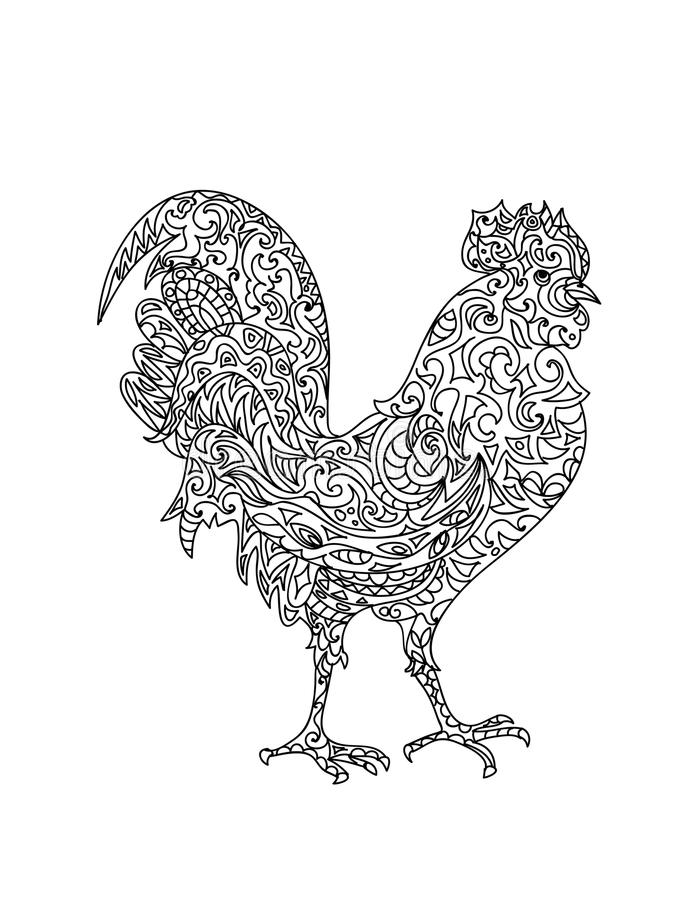 Zentangle del gallo illustrazione di stock
