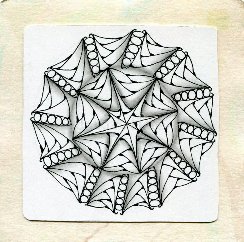 Zentangle del tatuaggio del hennè di vettore Stile fresco e semplice Pagina del libro da colorare fotografia stock