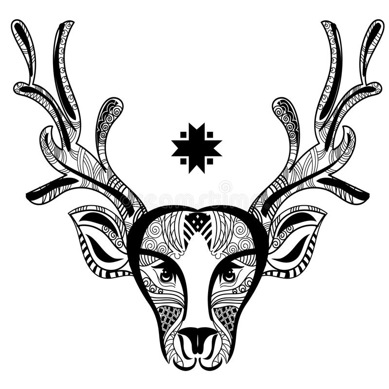 Zentangle di scarabocchio della testa dei cervi di Natale illustrazione vettoriale