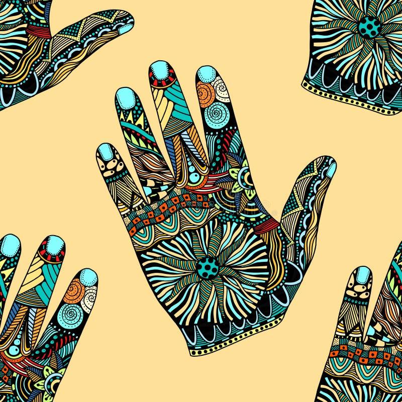 Zentangle dibujado mano de la palma ilustración del vector
