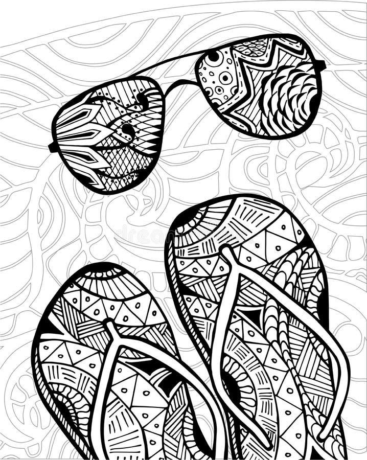 Zentangle dibujado mano de las chancletas para el libro de colorear stock de ilustración