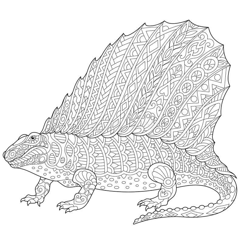 Zentangle dimetrodon dinosaur. Stylized dimetrodon dinosaur, fossil reptile of the Permian period, isolated on white background. Freehand sketch for adult anti stock illustration