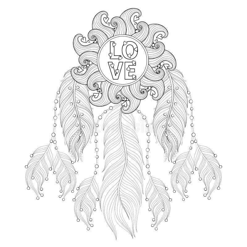 Zentangle disegnato a mano Dreamcatcher con la mandala di amore per l'adulto co illustrazione vettoriale