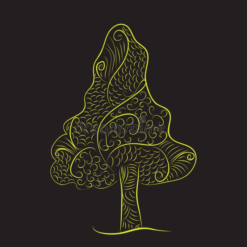 Zentangle doodle tree green yellow black background royalty free illustration