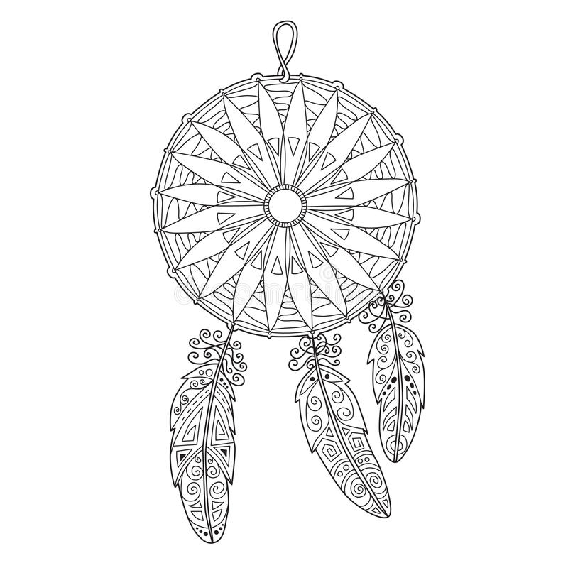 Zentangle dreamcatcher with feathers royalty free stock images