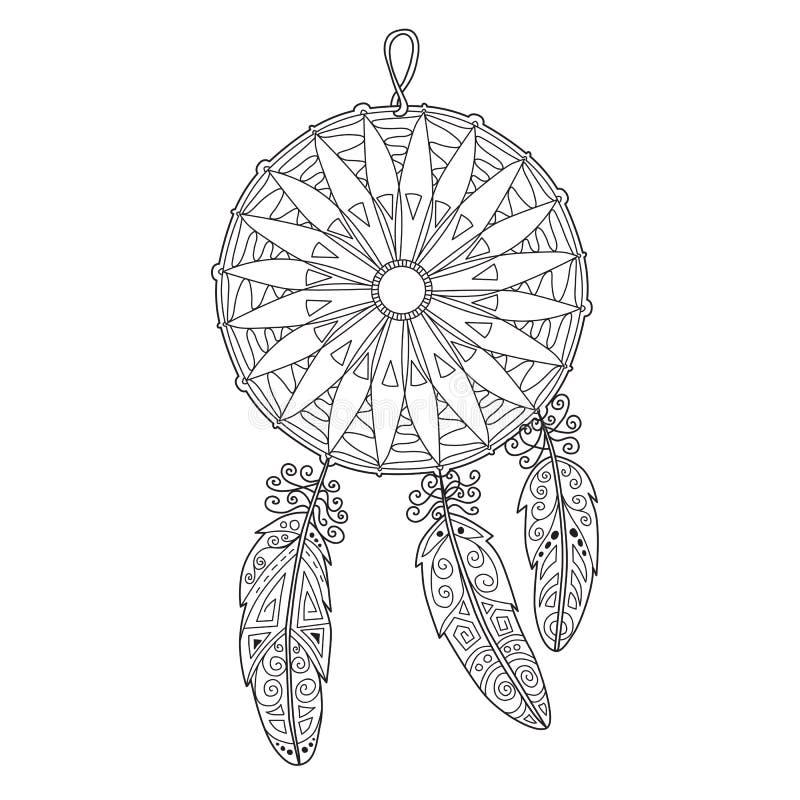 Zentangle dreamcatcher z piórkami royalty ilustracja