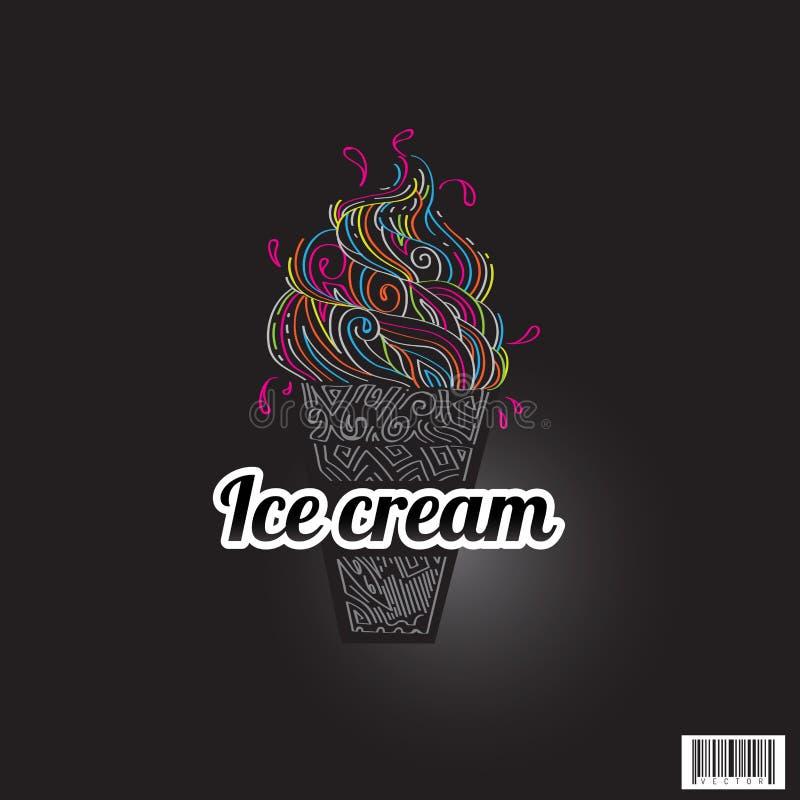 Zentangle-Eiscreme, gezeichnetes Design des Logos Hand lizenzfreie abbildung