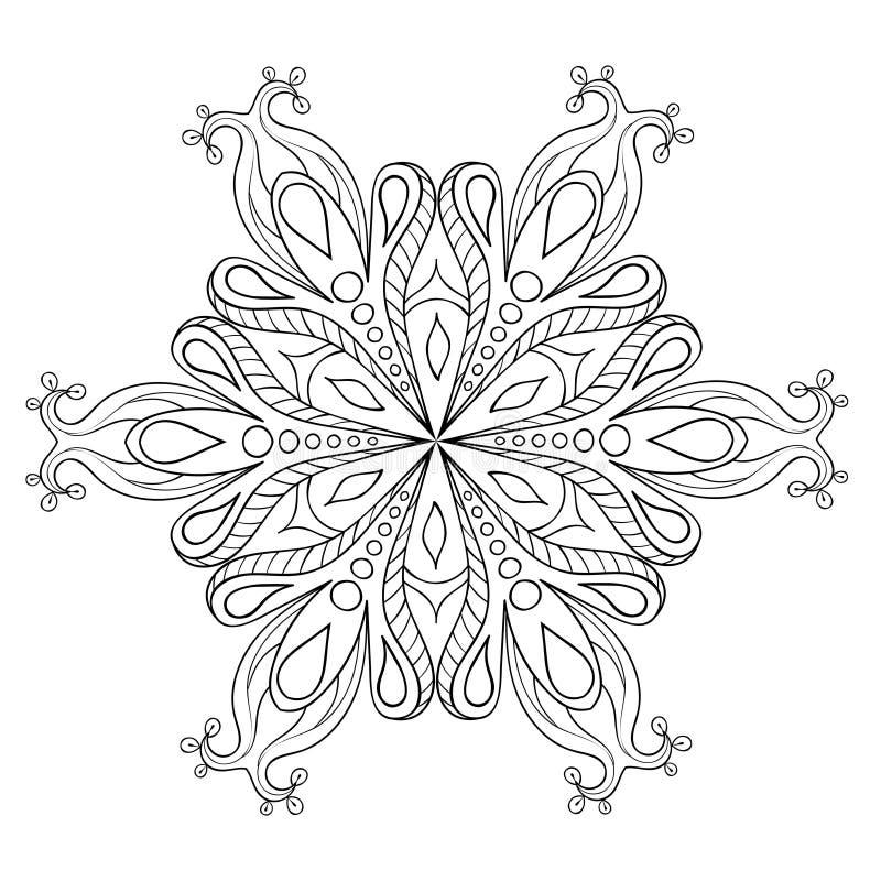 Zentangle elegancki śnieżny płatek Wektorowy ornamentacyjny zimy illustrat royalty ilustracja