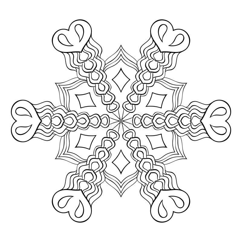 Zentangle elegant snow flake, mandala for adult coloring pages. royalty free illustration